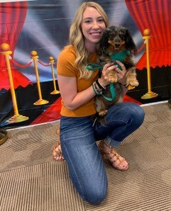 Karlie Fisher with her dog