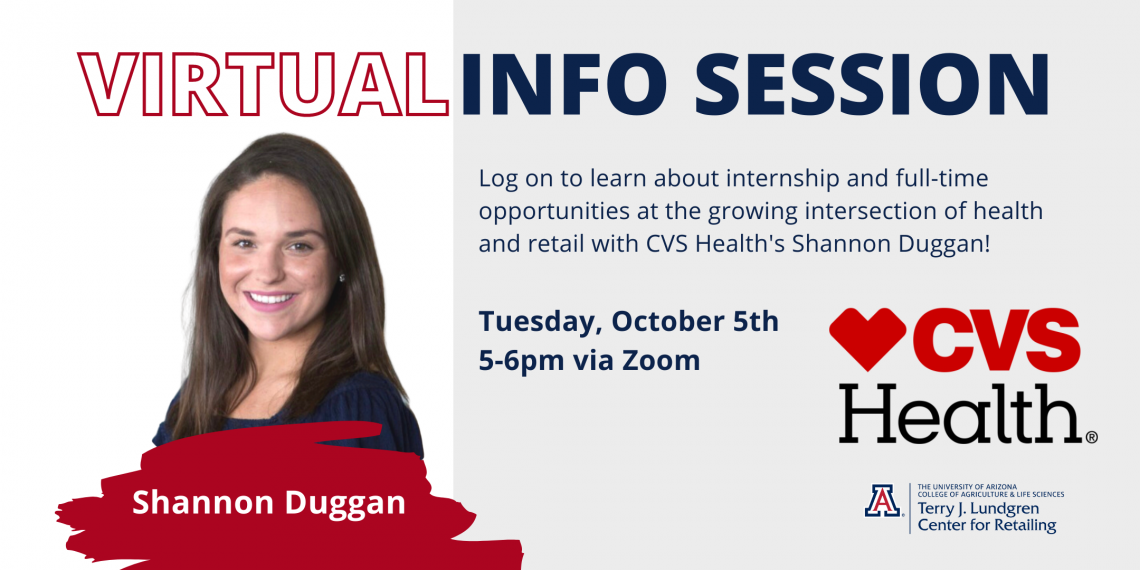 Flyer for virtual info session with CVS Health's Shannon Duggan