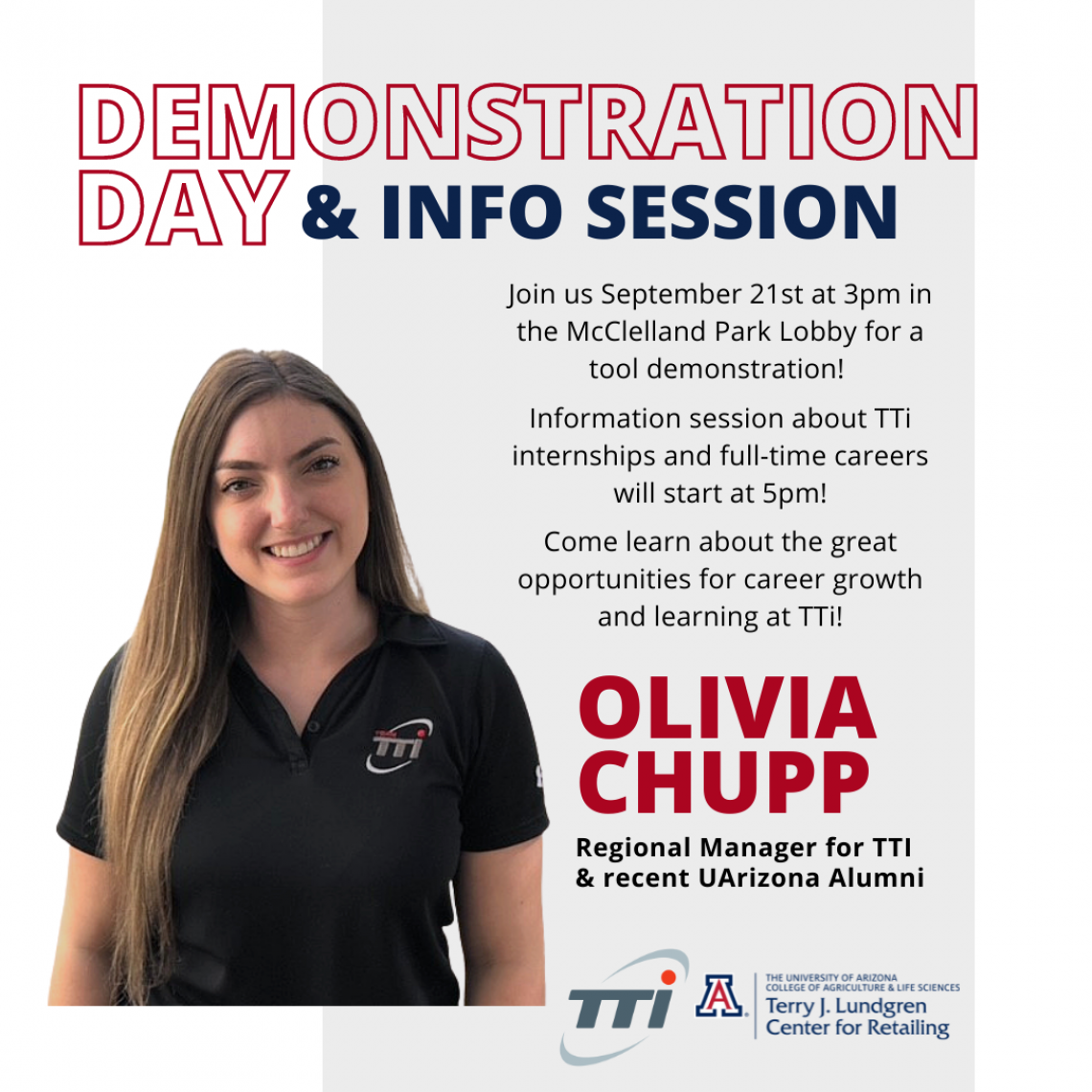 Flyer for Demonstration Day & Info Session with Olivia Chupp from TTI