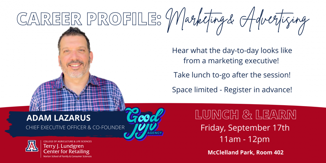 Flyer for Lunch & Learn with Adam Lazarus with Good JuJu Marketing