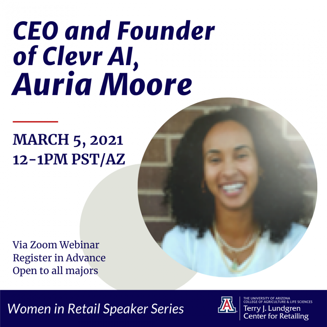 Flyer for Auria Moore, Founder & CEO Clevr AI